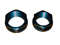McLaren center-lock wheel nuts, made from 7075 aluminum and hard anodized in blue and black as original.