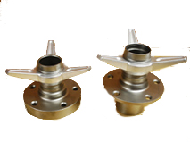 Custom hubs to adapt our knock off wheels, shown with forged aluminum 3 wings. Forged from U.S. steel, heat treated, crack checked and shot peened for stress relief. The best hubs on the market.